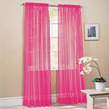 LuxuryDiscounts 2 Piece Solid Hot Pink Elegant Sheer Curtains Fully Stitched Panels Window Treatment Drape 54