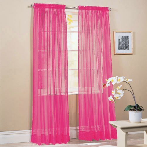 LuxuryDiscounts 2 PC Solid Rod Pocket Sheer Window Curtain Treatment Drape Voile Panels