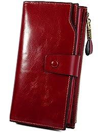 Women's RFID Blocking Large Capacity Luxury Wax Genuine Leather Clutch Wallet Multi Card Organizer