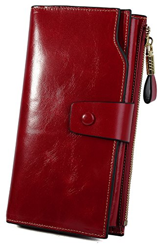 YALUXE Women's Wax Genuine Leather RFID Blocking Large Capacity Luxury Clutch Wallet Card Holder Organizer Ladies Purse Wallets for women brown Red