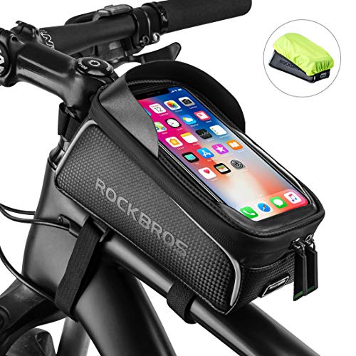 - ROCK BROS Bike Front Frame Bag Bike Phone Bag Cycling Waterproof Bicycle Phone Mount Bag Phone Case Holder Top Tube Frame Bag Compatible with iPhone X XS Max XR 8 7 Plus