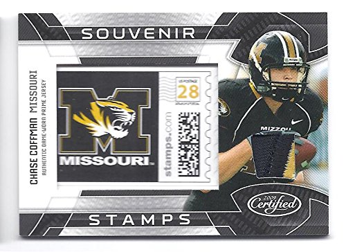 Missouri Jersey Material - CHASE COFFMAN 2009 Certified Souvenir Stamps College Materials #17 PRIME Game-Worn JERSEY PATCH Rookie Card RC #18 of only 25 Made! Missouri Tigers Football