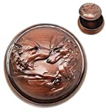 Tuweep Faux Wood Moon Light Lovers Wolf Couple Rounded Jewelry Decorative Box Figurine