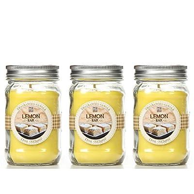 Bulk Buy. Hosley's Set of 3, Lemon Bar Scented Mason Jar Candles 11oz Each. Ideal votive GIFT for party favor, weddings, Spa, Reiki, Meditation, Bathroom settings