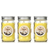 Bulk Buy. Hosley's Set of 3, Lemon Bar Scented Mason Jar Candles 11oz Each. Ideal votive GIFT for party favor, weddings, Spa, Reiki, Meditation, Bathroom settings