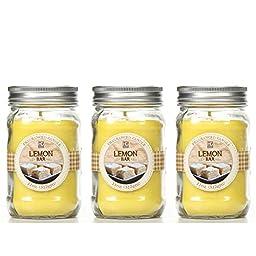 Bulk Buy. Hosley\'s Set of 3, Lemon Bar Scented Mason Jar Candles 11oz Each. Ideal votive GIFT for party favor, weddings, Spa, Reiki, Meditation, Bathroom settings