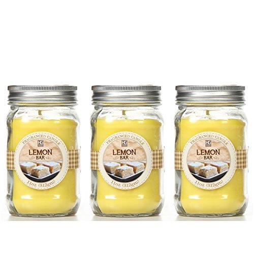 Bulk-Buy-Hosleys-Set-of-3-Lemon-Bar-Scented-Mason-Jar-Candles-11oz-Each-Ideal-votive-GIFT-for-party-favor-weddings-Spa-Reiki-Meditation-Bathroom-settings