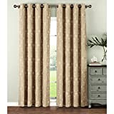 Cheap Window Elements  Geo Gate Embroidered Faux Linen Extra Wide 108 x 96 in. Grommet Curtain Panel Pair, Ivory