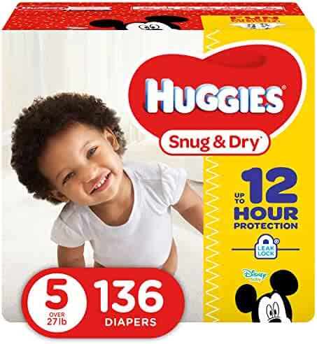 HUGGIES Snug & Dry Diapers, Size 5, 136 Count (Packaging May Vary)