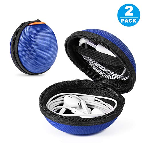 2 Packs GLCON Hard Earphone Case Headphone Organizer - Shockproof Mini Earbud Carrying Case for AirPods - High Protection Small EVA Storage Pouch Bluetooth Earpiece Bag - Lightweight Coin Purse (Blue)