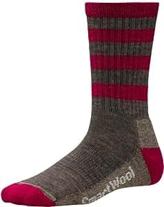 Smartwool Women's Stripe Hike Light Crew Socks, Taupe/Persian Red, Medium