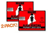 Maine-ALIEN HUNTING PERMIT LICENSE TAG DECAL TRUCK POLARIS RZR JEEP WRANGLER STICKER 2-PACK!-ME