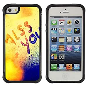 Suave TPU GEL Carcasa Funda Silicona Blando Estuche Caso de protección (para) Apple Iphone 5 / 5S / CECELL Phone case / / Miss You Mist Love Sun Golden Text /