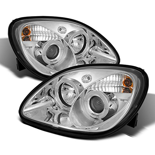 For 1998-2004 Mercedes Benz R170 SLK-Class Chrome Clear 1 Piece Halo Projector Headlights w/Corner Signal Lamps 1 Piece Crystal Headlights