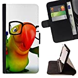 DEVIL CASE - FOR Sony Xperia m55w Z3 Compact Mini - Parrot Glasses Colorful Animation Hipster 3D - Style PU Leather Case Wallet Flip Stand Flap Closure Cover
