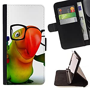 DEVIL CASE - FOR Samsung Galaxy S6 EDGE - Parrot Glasses Colorful Animation Hipster 3D - Style PU Leather Case Wallet Flip Stand Flap Closure Cover
