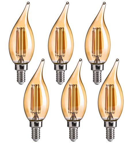 CA11 E12 LED Candelabra Bulbs, FLSNT Dimmable LED Chandelier Light Bulbs, 4.5W(40W Equivalent),2200K Warm White,CRI80,330LM,Amber Glass Finishing,6 Pack (6 Light Amber Glass Chandelier)
