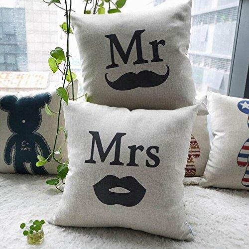 Lino diseño de novios manta funda de almohada funda para ...