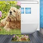 My Daily English Cocker Spaniel Dog Flower Shower Curtain 60 x 72 inch with Bath Mat Rug & Hooks, Waterproof Polyester Decoration Bathroom Curtain Set 7