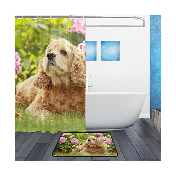 My Daily English Cocker Spaniel Dog Flower Shower Curtain 60 x 72 inch with Bath Mat Rug & Hooks, Waterproof Polyester Decoration Bathroom Curtain Set 2