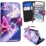 MobileConnect4U® Printed PU Leather Wallet/Flip/Stand Case For iPhone 5/5S and iPhone SE With Screen Protector. Blue and Pink Butterfly/Pink