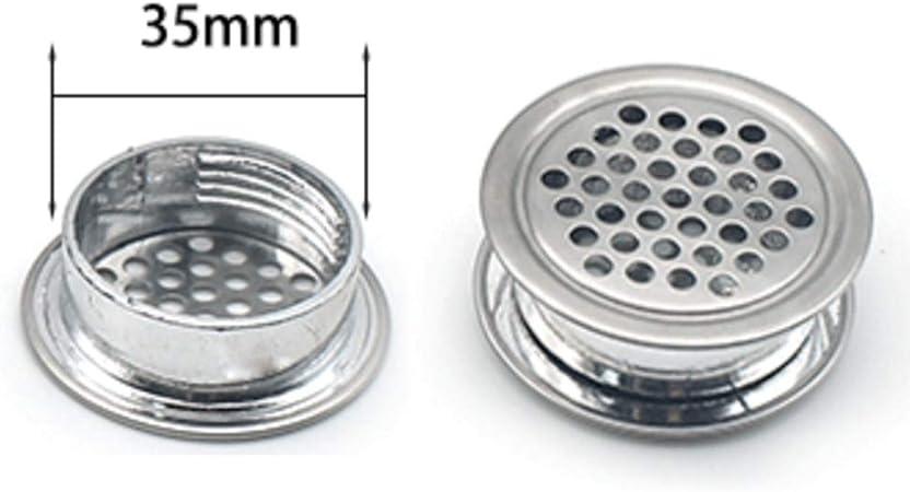 Accesorios de Gabinete Acero Inoxidable 10Pcs Rejilla para Sistema de Ventilaci/ón 35mm de Di/ámetro