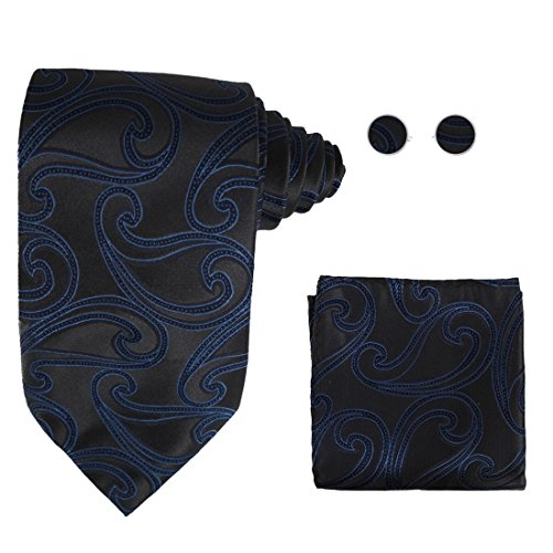 Creative Halloween Ideas (Y&G H5026 Grey Paisley Creative Gift Idea For Halloween Silk Tie Cufflinks Hanky Set)
