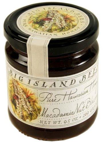Unheated, Pure, Raw Macadamia Nut Blossom Hawaiian Honey, Single Floral Variety by Big Island Bees (9 oz Glass ()