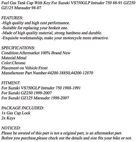 Bruce /& Shark Fuel Gas Tank Cap Keys for Suzuki Intruder 750 88-91 GZ250 GZ125 Marauder 1998-2007 44200-38850 44200-12870