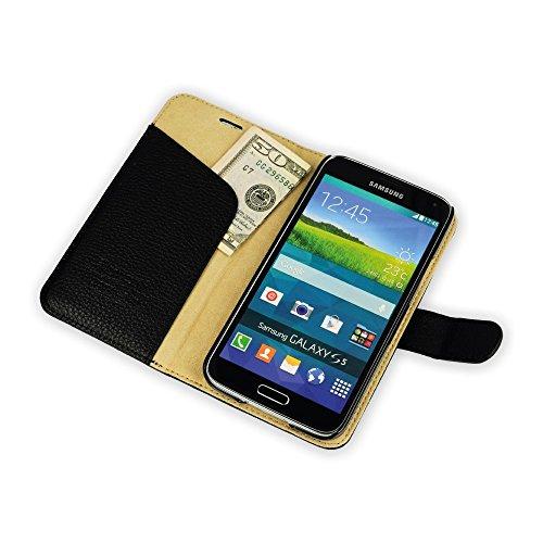 QIOTTI Q. Book Lux 2en 1Magic Solution Étui Livret en cuir véritable pour Samsung Galaxy S5/S5Neo–Zèbre Noir
