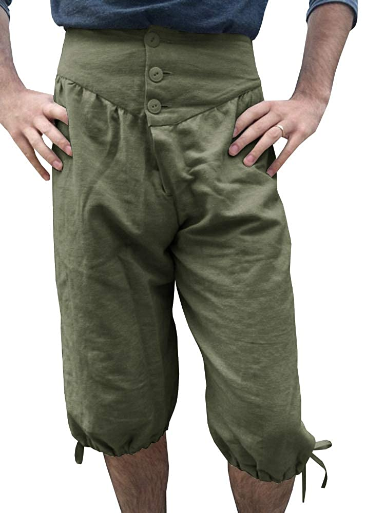 Mens Medieval Pants Lace up Knicker Button Knee Length Renaissance Viking Pirate Costume Shorts