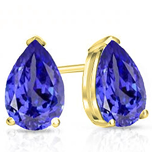 (Dazzlingrock Collection 14K 7X5 MM Each Pear Tanzanite Ladies Solitaire Stud Earrings, Yellow Gold)