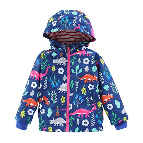 Evelin LEE Kids Girls Waterproof Floral Printed Hooded Jacke