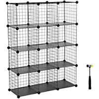 SONGMICS 12-Cube Metal Wire Storage Cube, Cube Storage Organizer, Modular Bookcase, DIY Closet Cabinet Shelf, Bookcase with Rubber Mallet 36.6''L x 12.2''W x 48.4''H, Black, ULPI34H