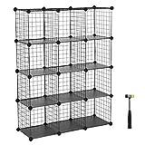 SONGMICS 12-Cube Metal Wire Storage Cube, Cube Storage Organizer, Modular Bookcase, DIY Closet Cabinet Shelf, Bookcase with Rubber Mallet 36.6''L x 12.2''W x 48.4''H, Black, ULPI34H