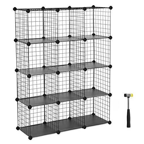 SONGMICS Metal Wire Cube Storage,12-Cube Shelves Organizer,Stackable Storage Bins, Modular Bookcase, DIY Closet Cabinet Shelf, 36.6