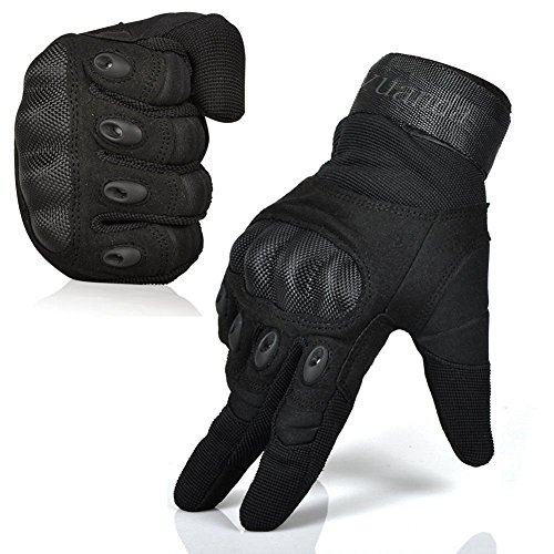 Fuyuanda Tactical Gloves Men`s Outdoor Full Finger Hard Knuckle Motorcycle Glove for Military Army Sporting Shooting Paintball Hunting Driving Riding Cycling Airsoft Black