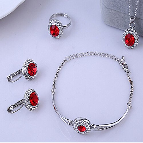 VIERNES negro ofertas plata Plated Circonita Rojo Caliente para Halo colgante collar pulsera pendientes anillo joyería Set, mejor Navidad/regalo de cumpleaños para madre, esposa, hija, niñas