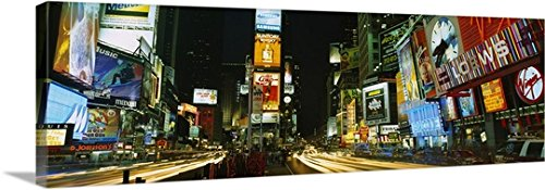 Canvas On Demand Premium Thick-Wrap Canvas Wall Art Print entitled Neon boards in a city lit up at night, Times Square, New York City, New York State - Square New City Times Stores York In