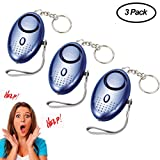 Personal Alarms Keychain With LED Flashlight 130db Emergency Safe Sound Alarm Portable Safety and Self Defense for Women, Elderly, Kids, Students 3 Pack(Blue)