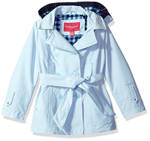 London Fog Big Girls' Double Breasted Belted Trench with Gingham Printed Lining, Blue, - Raincoat Patterned