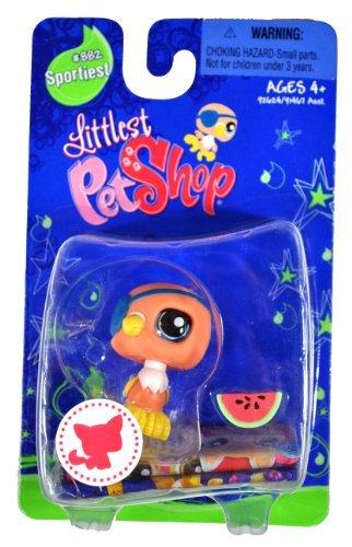Littlest Pet Shop Sportiest Single Figure Parrot with Eye Patch and Watermelon]()