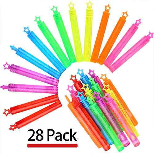 Punertoy 28 Pack Mini Bubble Wand Set(7 Colour), Party Favor Summer Toy for Kids Party, Celebrations, Birthdays, Gift ()