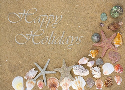 18 Christmas Cards and Envelopes, Starfish on the Beach
