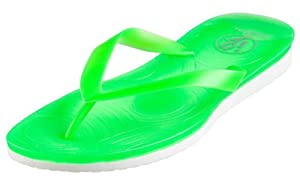 Neon Jelly Pop Style Thong Beach Flip-flops for Women (11, Green)