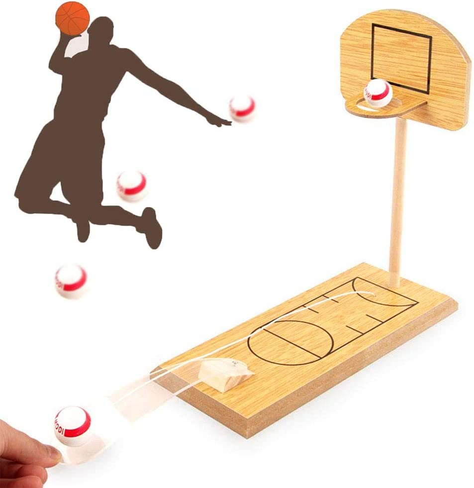 Basketball Game, Mini Desktop Tabletop Portable Travel or Office Game Set for Indoor/Outdoor, Fun Sports Novelty Toy or Gag Gift Idea