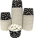 Candy Nut Mini Baking Paper Treat Cups - Black with White Dots - Bulk 100 Pack