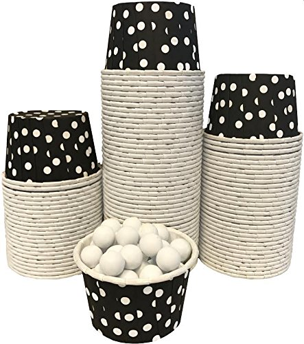 Candy Nut Mini Baking Paper Treat Cups - Black with White Dots - Bulk 100 Pack]()