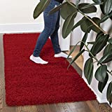 """Ottomanson Collection Solid Shag Rug, 2'7"""" x 8', Red"""