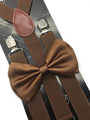 - 4everstore Unisex's Bow Tie & Suspender Sets (Dark Brown)